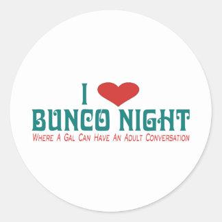 i love bunco night round stickers
