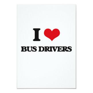 "I love Bus Drivers 3.5"" X 5"" Invitation Card"