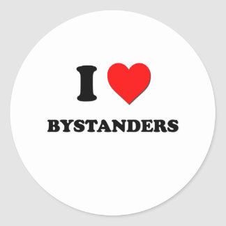 I Love Bystanders Round Stickers