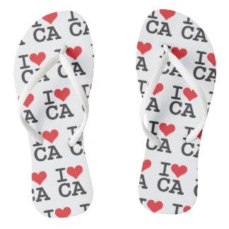 I Love CA Custom Adult, Slim Straps Flip Flops