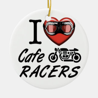 I Love Cafe Racers Ceramic Ornament