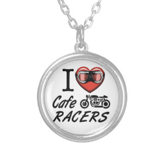 I Love Cafe Racers Silver Plated Necklace
