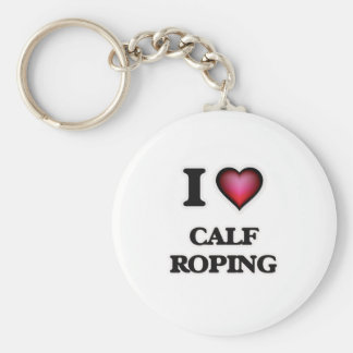 I Love Calf Roping Basic Round Button Keychain