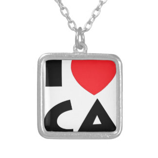 I Love California Silver Plated Necklace
