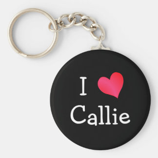 I Love Callie Basic Round Button Keychain