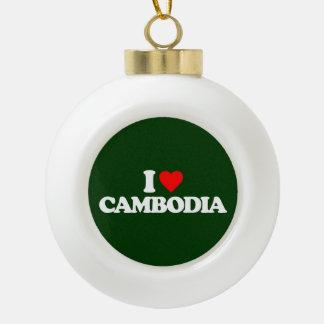 I LOVE CAMBODIA CERAMIC BALL ORNAMENT