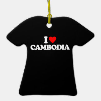 I LOVE CAMBODIA Double-Sided T-Shirt CERAMIC CHRISTMAS ORNAMENT
