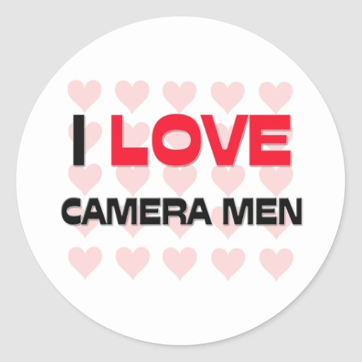 I LOVE CAMERA MEN ROUND STICKERS