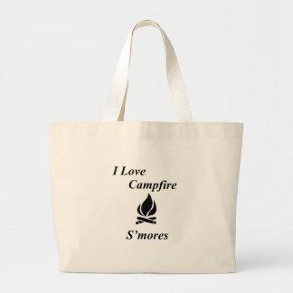 I Love Campfire S'mores Large Tote Bag