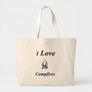 I Love Campfires Large Tote Bag