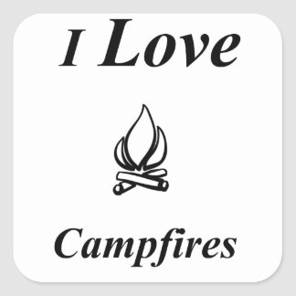 I Love Campfires Square Sticker