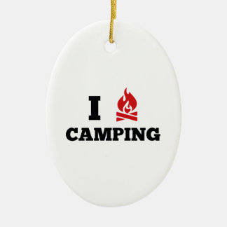 I Love Camping Ceramic Ornament