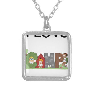 I Love Camping Silver Plated Necklace