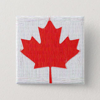 I love Canada! Canadian Flag Stitch Look Design 2 Inch Square Button