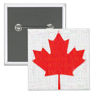 I love Canada! Canadian Flag Stitch Look Design 2 Inch Square Button