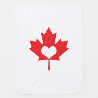 I Love Canada - Canadian Pride Maple Leaf Heart Baby Blanket