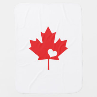I Love Canada - Canadian Pride Maple Leaf Heart Receiving Blankets