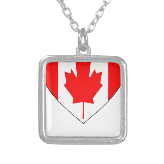 I Love Canada - Heart Vintage Flag T-Shirts Silver Plated Necklace
