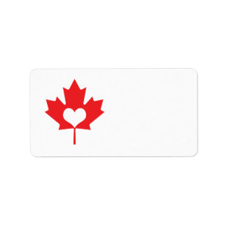 I Love Canada Maple Leaf and Heart Label