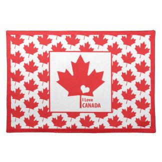 I love Canada Maple Leaf Canada Day Picnic Placemats