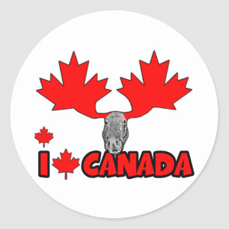 I love Canada Round Sticker