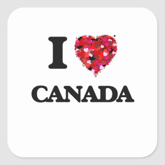 I Love Canada Square Sticker