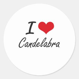I love Candelabra Artistic Design Round Sticker