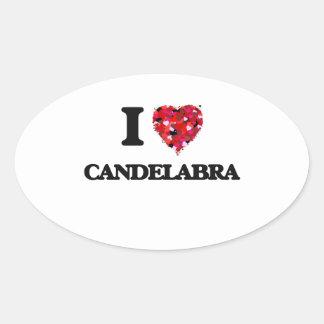 I love Candelabra Oval Sticker