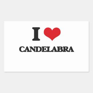 I love Candelabra Rectangular Sticker