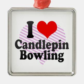 I love Candlepin Bowling Metal Ornament