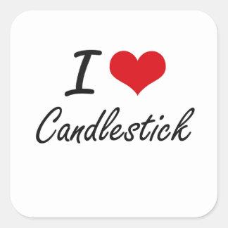 I love Candlestick Artistic Design Square Sticker