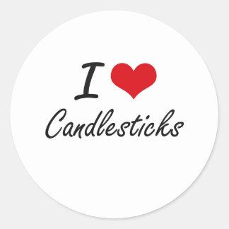 I love Candlesticks Artistic Design Round Sticker