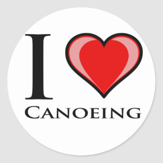 I Love Canoeing Round Sticker
