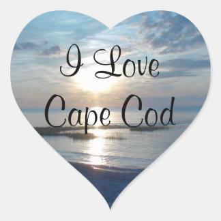 I Love Cape Cod Heart Stickers