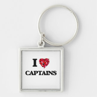 I love Captains Silver-Colored Square Keychain