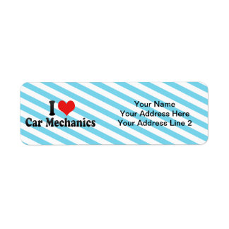 I Love Car Mechanics Custom Return Address Label