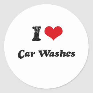 I love Car Washes Classic Round Sticker