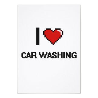 "I Love Car Washing Digital Retro Design 5"" X 7"" Invitation Card"