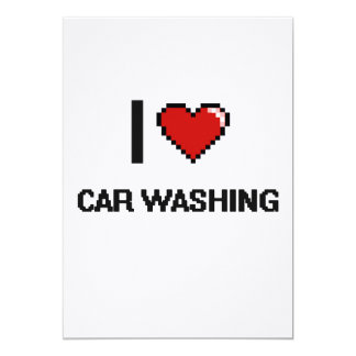 I Love Car Washing Digital Retro Design 5x7 Paper Invitation Card