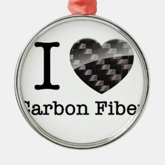 I Love Carbon Fibre Metal Ornament