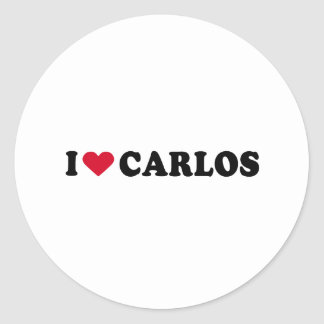I LOVE CARLOS CLASSIC ROUND STICKER