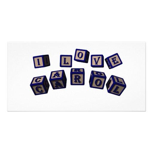 I love Carol toy blocks in blue. Photo Cards