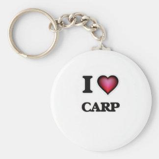 I love Carp Basic Round Button Keychain