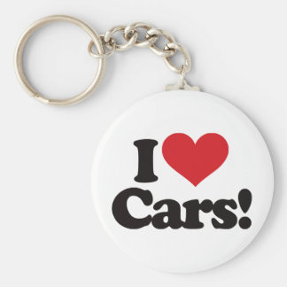 I Love Cars! Basic Round Button Keychain