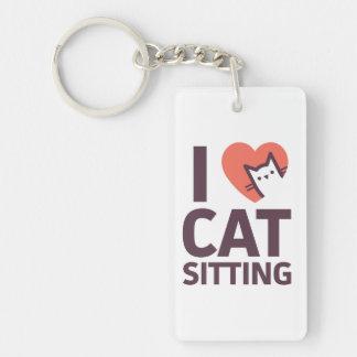I Love Cat Sitting Double-Sided Rectangular Acrylic Keychain