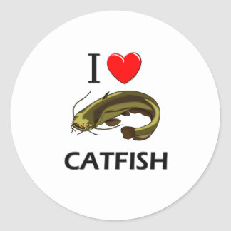 I Love Catfish Classic Round Sticker