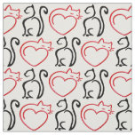 I Love Cats! (Black and Red Outlines on White) Fabric