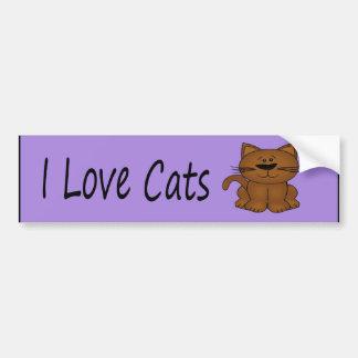 I Love Cats Cartoon Cat Bumper Sticker