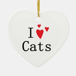 I Love Cats Ceramic Ornament