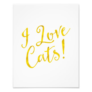 I Love Cats Gold Faux Foil Inspirational Metallic Art Photo